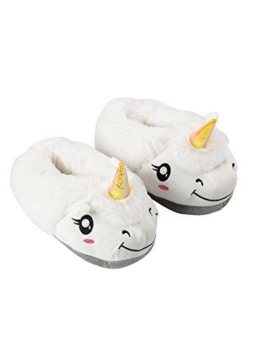 ichen Einhorn Hausschuhe-Erwachsene Warm Plüsch Cartoon-Home-Schuhe, 1 Paar Weiß (Lustigen Erwachsenen-strampelanzug)