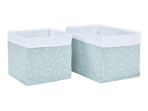 KraftKids Stoff-Körbchen in Musselin mint Pusteblumen, Aufbewahrungskorb für Kinderzimmer, Aufbewahrungsbox fürs Bad, Größe 20 x 20 x 20 cm