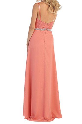 Promgirl House Damen Guenstig Chiffon Spitze Abendkleider Cocktailkleider Brautmmutterkleider Lang mit Jacke Orange