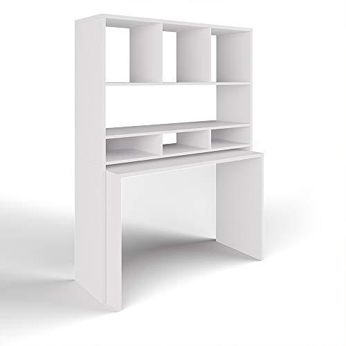 VICCO Schreibtisch Oskar Weiß - Stehtisch Schreibtisch Bürotisch PC Tisch Regal Wandtisch Home Office