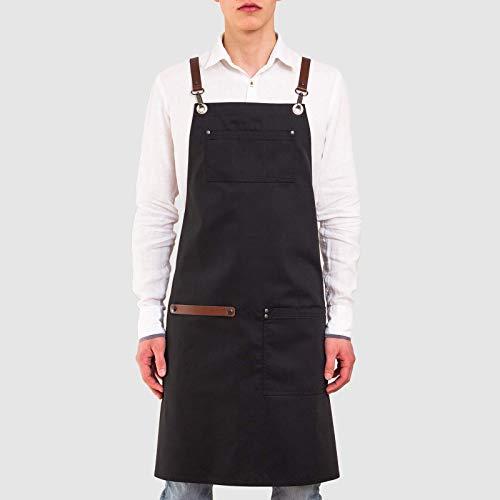 Leder-handtuchhalter (APRONISTA Barista Schürze für Männer mit intelligentem Handtuchhalter Schürzen für Barkeeper Personalisierte Schürze Leinen Professionelle Leinenschürze mit Lederriemen Kochschürze)