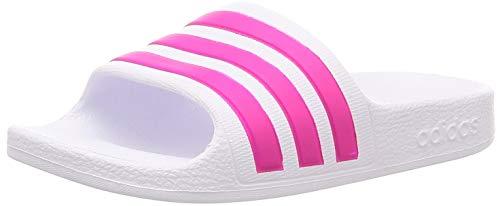 Adidas adilette aqua k, scarpe da ginnastica unisex-bambini, ftwr white/real magenta/ftwr white, 39 eu