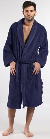 Mens Harvey James Classic Warm Herringbone Fleece Bathrobe Dressing Gown Blue L