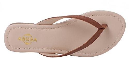 ABUSA Damen Simple Classic Leder Flip Flops Dunkelbraun