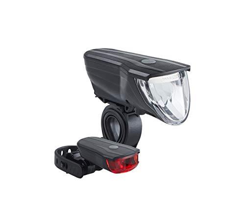 Büchel Vancouver Pro, 70 Lux, LED Akkuleuchtenset, StVZO zugelassen, automatische Lichtsteuerung, Rücklicht mit Bremsfunktion, schwarz, 51227501