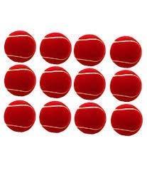 JAINA Rubber Light Weight Tennis/Cricket Ball (Pack - 12) (Red)