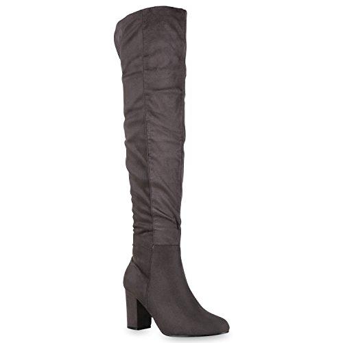 Bootsparadise Stivali Da Donna Overknees Look In Pelle Scamosciata Con Tacco Largo Scarpe Stivali Lunghi Stivali Grind Flandell Basic Grigio