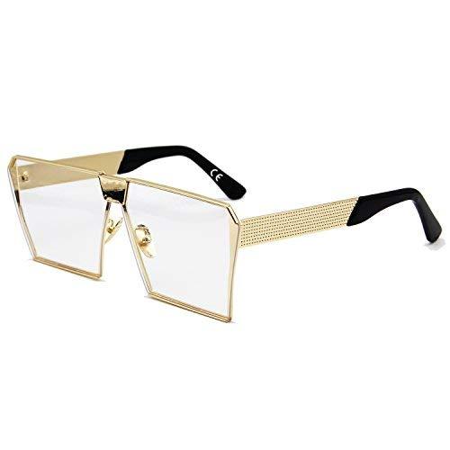 AMZTM Platz Gold Rahmen Klar Linsen Draussen Lesen Brille Groß Nicht Polarisiert Sonnenbrille für Damen und Herren