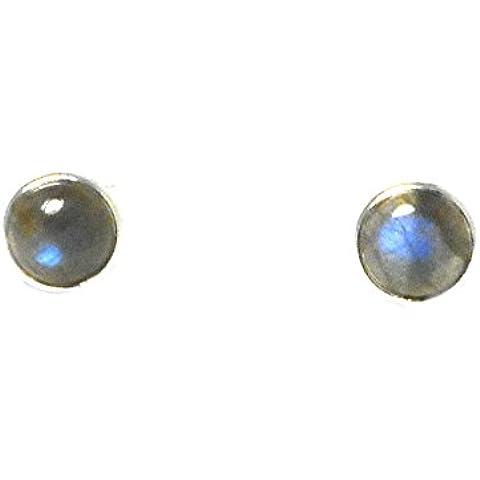 labradorite, forma rotonda–8mm–orecchini in argento Sterling 925, in confezione regalo (ls0411151)