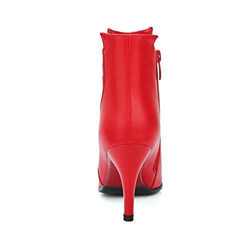 AllhqFashion Damen Reißverschluss Stiletto Pu Leder Rein Niedrig-Spitze Stiefel Rot