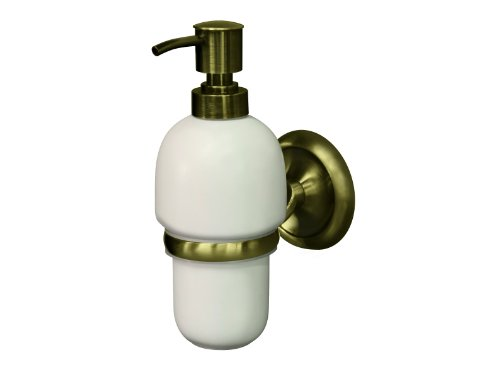 Bisk 02213 Deco Dispensador de jabón, 8 x 11,5 x 20 cm, acabado latón envejecido