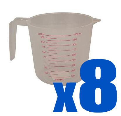 8 x Plastic Measuring Jug Metric 1L Litre Kitchen Jug.