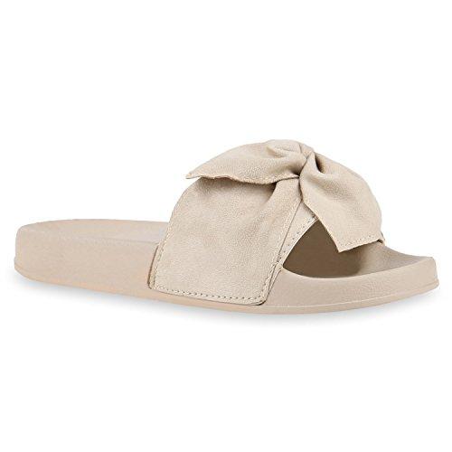 Damen Pantoletten Blumen Sandalen Strass Sommer Schuhe Creme Creme Schleife