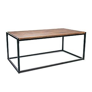 1abdafe8fc7f21 Port Housewares Contemporain Industriel Table Basse – Bois foncé Cadre en  Acier – 110 x 60 x 46 cm