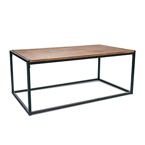 Port Housewares Contemporain Industriel Table Basse - Bois foncé/Cadre en Acier - 110 x 60 x 46 cm