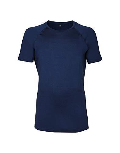 DILLING Merino T-Shirt für Herren - optimal für Alltag, Sport und Freizeit aus 100% exklusiver Merinowolle Dunkelblau XXL -