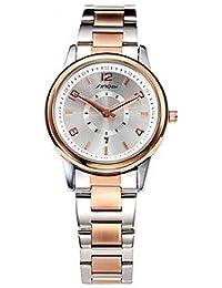 Relojes Hermosos, Mujer Reloj de Moda Cuarzo Calendario / Resistente al Agua Aleación Banda Oro Rosa Marca- SINOBI ( Color : Oro Rosa , Talla : Para Mujer-Una Talla )