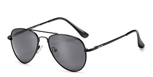 Miuno Kinder Sonnenbrille Metalgestell Pilotenbrille für Jungen und Mädchen mit Etui 4025k (Schwarz/Schwarzgestell)