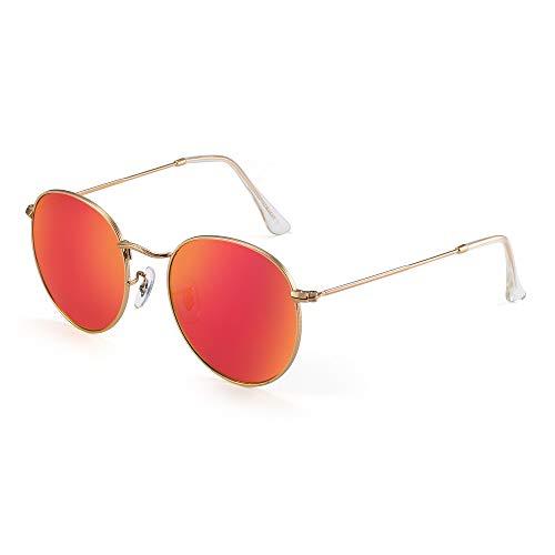 JIM HALO Vintage Runden Sonnenbrillen für Damen Herren Retro Kreis Linsen Metall Rahmen(Goldrahmen/Roter Linsen)