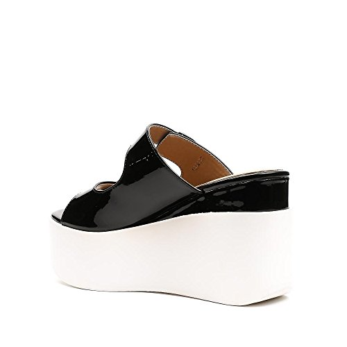 Ideal Shoes Sandales Vernies à Plateforme Lalyna Noir