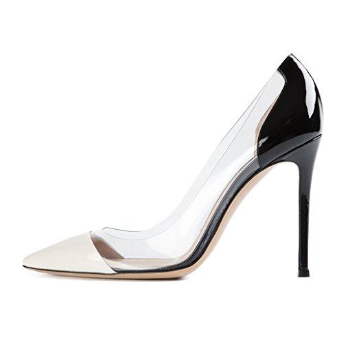 Transparent Zehenkappe Schuhe Edefs Geschlossene Größe Pumps Damen Hochzeit Blackwhite Stiletto Party Rutsch ATpxqXHWwa