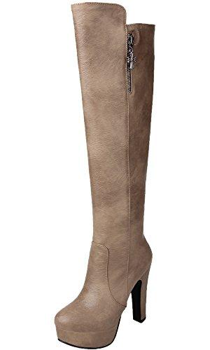 Lange Stiefel Damen High Heel PU Leder Casual Herbst Winter Warme Plateau Knie Hohe Stiefel Von BIGTREE Grau 42 EU (Knie Leder Hoch)