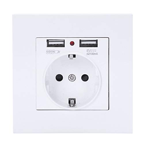 Cikuso PC Platte Wand Strom Steckdose geerdet 16A Eu Standard Elektrische Steckdose mit 2100Ma Doppelt Usb Ladeger?t Anschluss für Mobile (Usb-platte, Wand)