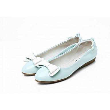 Wuyulunbi@ Scarpe Donna Primavera Autunno Comfort Novità luce Appartamenti suole piatte rotonde Bowknot di punta per abbigliamento casual blu e bianco US7.5 / EU38 / UK5.5 / CN38