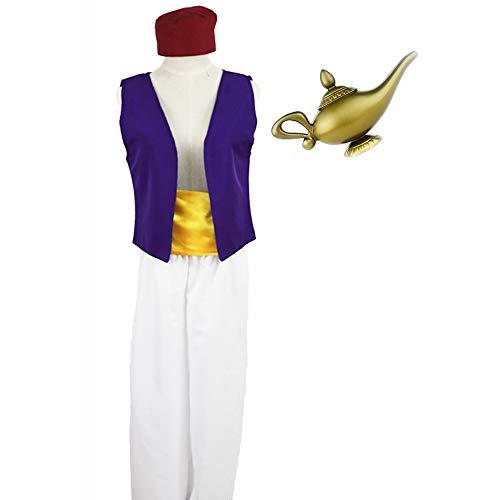 Herren Halloween Kostüm Aladdin Cosplay Shirt + Lampenanzug, Arabian Prince & Folk Hero Kostüm für Erwachsene