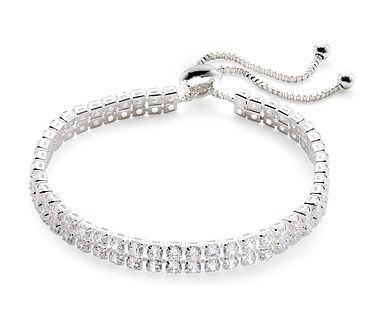 Silver double row CZ tennis bracelet