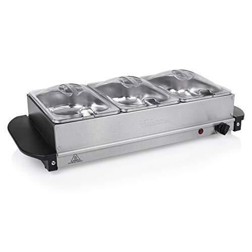 Tristar Edelstahl Buffetwärmer - einstellbares Thermostat, 3 x 1,5l Buffetbehälter, als Heizplatte verwendbar, 200 Watt, BP-6283