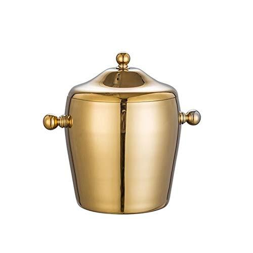 HHGO Eiswürfelbehälter Edelstahl Große Eiskübel 1L, Bar Kitchen Parties Outdoor Dekorative Kühler, Geeignet for Wein Champagner Bier Getränke, Binaural Und Tragbar (Color : Binaural (Local Gold))