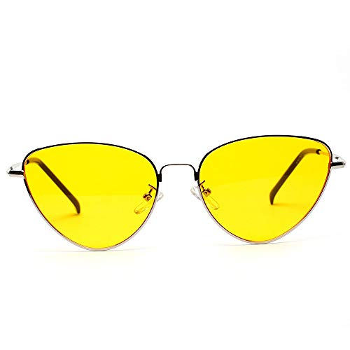 Gaodaweian Frauen Sonnenbrillen Brillen Cat Eye Damen Klassische Vintage Verspiegelte Flache Linsen Metallrahmen Sonnenbrille Mode UV Blocking (Color : Yellow)