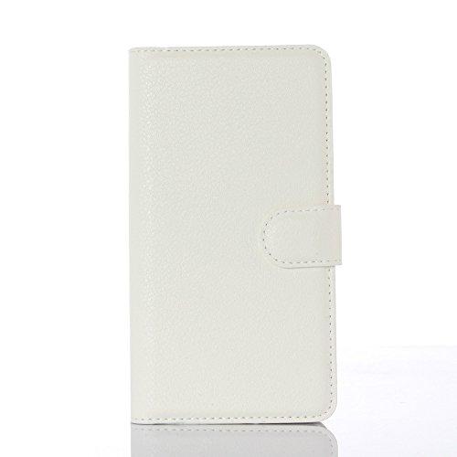 Doogee X5 / X5 Pro Hülle GOGODOG Ultra Schlank Leder Stoßstange Voll Karosserie Schutz Brieftasche Geschäft Stil mit Stand Funktion Und Auto Schlaf Aufwachen Oben X5 / X5C / X5S / Doogee X5 Pro (Weiß)
