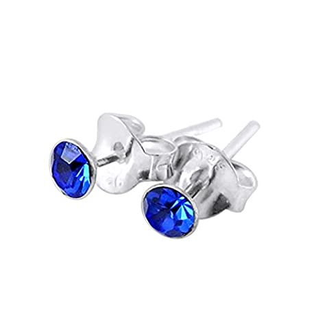 2MM Round Set Blue Sapphire Crystal SEPTEMBER Birthstone 925 Sterling Silver Stud Earrings