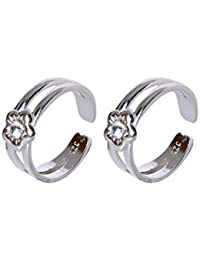 Abhooshan pair of unique and beautiful 92.5 Serling Silver Toe rings in White Crystal
