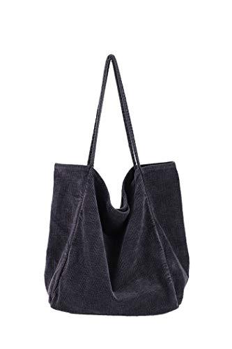 Howoo Damen Groß Cord Retro Schultertasche Beiläufig Handtasche Mode Einkaufstasche grau -