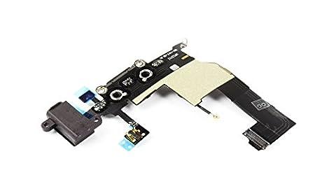 SOSav Connecteur de charge + Micro + Prise Jack + Antenne GSM pour iPhone 5 Noir
