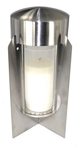 ek-center Grablaterne Edelstahl mit Glaszylinder und Erdanker