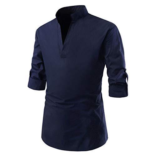 Dtuta T-Shirts MäNner Regular Fit,Poloshirts Herren Langarm,Bekleidung,Langarmshirts,Einfarbig, LangäRmliges Anzughemd Mit V-Ausschnitt, Business-Kleidung, Wildes Freizeithemd