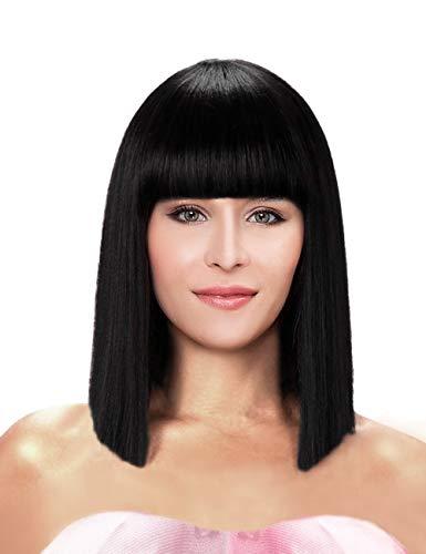 kalyss 35,6cm kurz gerade Schulter Länge Schwarz Yaki Synthetik Bob Haar Perücke hitzebeständig volles Haar Ersatz Perücke mit Pony Perücke für Frauen
