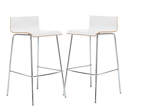 MAUSER SITZKULTUR 2er-Set Design Barhocker / Barstuhl in schlanker Form, Holzdeckor weiß, Gestell glanzverchromt; M225