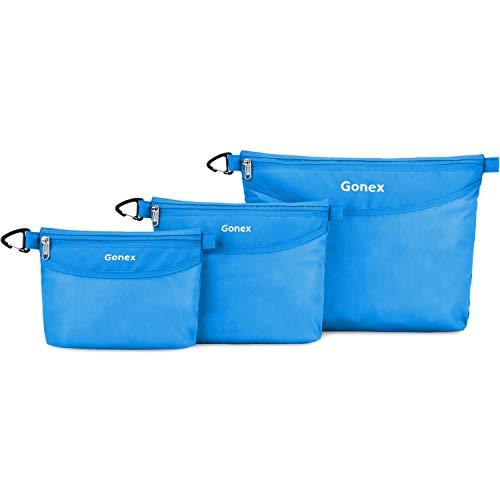 Gonex Kulturtasche, Waschtasche Waschbeutel Set Kosmetiktasche für Damen Männer 3 Stück - Groß Mittel & Klein für Reisen Büro Outdoor Kunst Blau (Outdoor-telefonkabel)