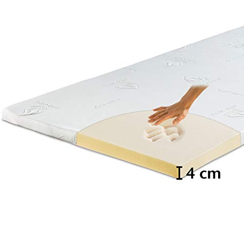 maxVitalis Viskoelastischer Matratzen-Topper, Orthopädische MemoryFoam Matratzenauflage, Viscoauflage für Matratzen & Boxspringbett, inkl. Aloe Vera Bezug (80 x 190 cm, Viskoschaum 4 cm)
