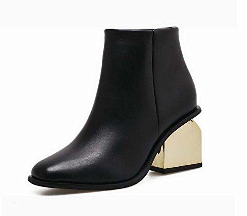 Stivali di caviglia 7cm Scarpe da donna abito da sposa in pizzo a punta quadrangolare Scarpe da donna in pelle bionda Puro scarpe da donna in metallo dorato Scarpe da ginnastica in pelle da donna Mart Black leather