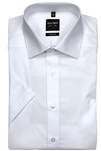 OLYMP Level Five body fit Hemd Halbarm Popeline Stretch weiß (Herren-stretch-popeline-hemd)
