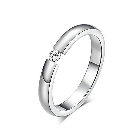 Jasmineees Schmuck Damen Ring,Runde Form Intarsien CZ Zirkonia Einfach Edelstahl Trauringe Ehering Verlobungsringe für Damen Weiß Größe 57(18.1)