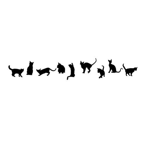 VORCOOL Katzen Wandtattoo Wandaufkleber Kunst Abziehbild Tapeten für Kinderzimmer Schlafzimmer Wohnzimmer 57 x 30 cm (schwarz)