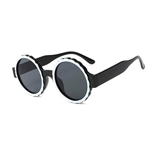 VENMO Mode Herren Retro kleine ovale Sonnenbrille für Damen Metallrahmen Shades Brillen Katzenauge Metall Rand Rahmen Damen Frau Mode Sonnebrille Gespiegelte Linse Women Sunglasses (M-Schwarz)