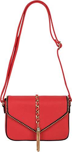 styleBREAKER Bolso de Bandolera de Mujer en diseño de sobre con Tachuelas, Cadena y Borla, Bolso de Hombro, Bolso de Mano, Bolso 02012274, Color:Rojo/Dorado